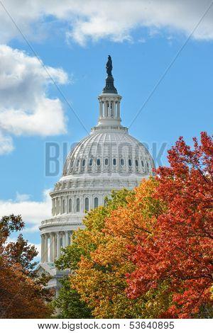 U.S. Capitol dome in Autumn - Washington DC, United States