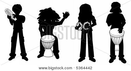 Silhouettes Of Percussionists
