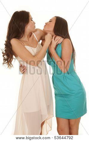 Two Women Dresses Kissy Face