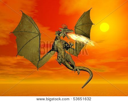 Fire-breathing dragon flying wings wide open at sunset poster