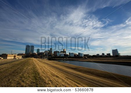 View of Downtown Fort Worth from the Trinity River on an Autumn Day