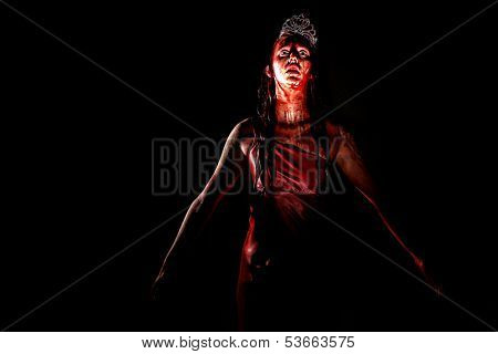 Horror Image of a Woman Dripping in Blood Wearing Prom Dress poster