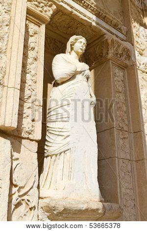 Sculpture in Library of Celsus Ephesus, Turkey poster