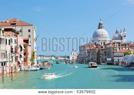 Venice, Italy. Grand Canal and Basilica Santa Maria della Salute at sunny day. View from Ponte dell Accademia