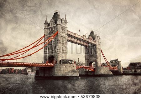 Tower Bridge in London, England, the UK. Artistic vintage, retro style with red elements