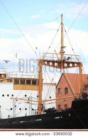 Moltawa River And Soldek Boat In Gdansk, Poland