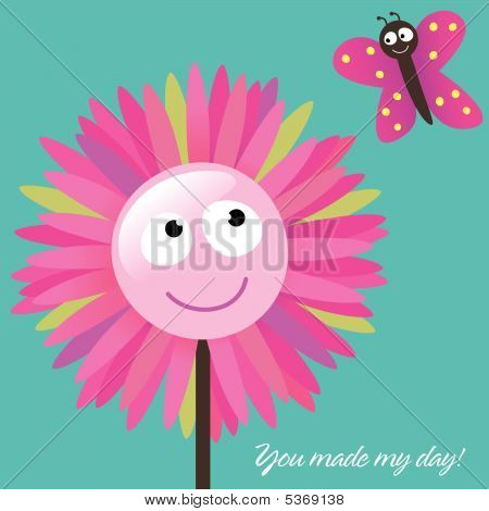 Illustration Vector You Made My Day Card poster