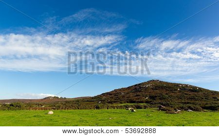 Fields and hills Cornwall countryside Zennor near St Ives England UK poster
