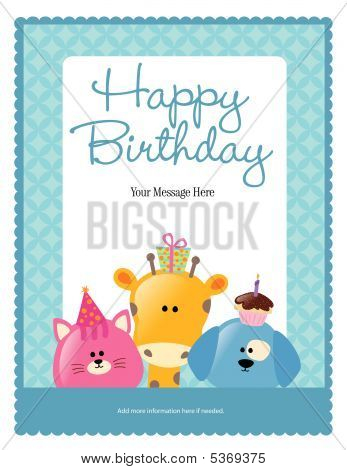 8.5x11 birthday flyer poster template illustration vector poster