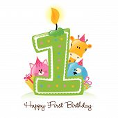 Illustration of Birthday Candle and Animals Isolated on white poster