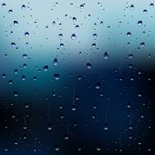 Abstract Vector Illustration of Raindrops On a Window poster