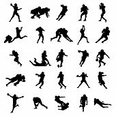 The American Football Black Vector Silhouettes Illustration poster