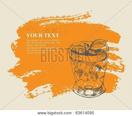 Tropical cocktail on orange grunge background