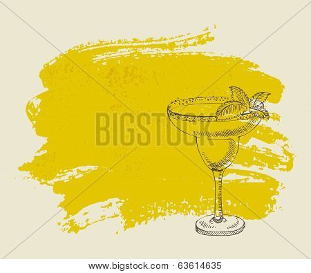 Tropical cocktail with mint on yellow background