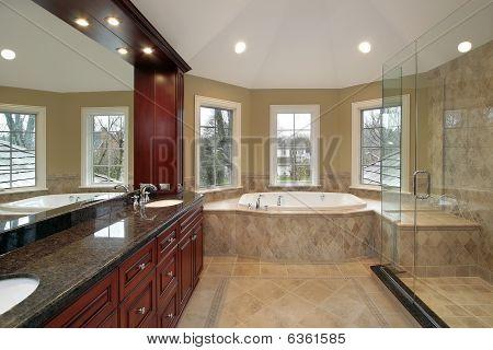 Master Bath With Marble Tub