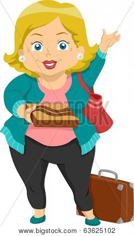 Illustration of a Plump Elderly Woman on a Visit to Her Grandchildren