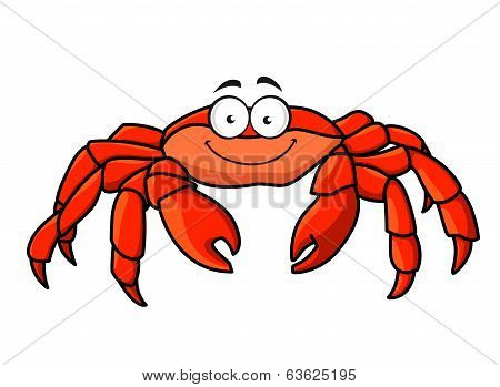 Cartoon red marine crab with big pincer claws and a happy smile, isolated on white poster