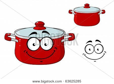 Little red cartoon cooking saucepan with a lid