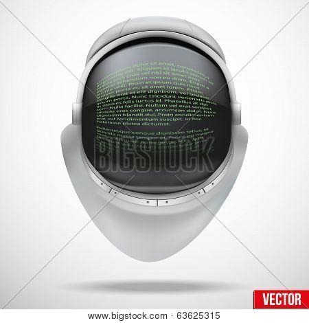 Astronaut helmet with digital text on reflection glass vector.