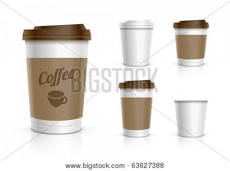 Disposable coffee cups collection. Vector illustration.