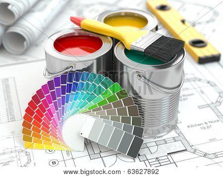 Construction. Cans of paint with colour palette and paintbrush. 3d