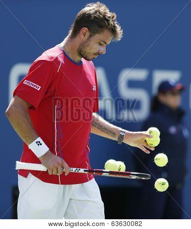 Professional tennis player Stanislas Wawrinka during semifinal match at US Open 2013