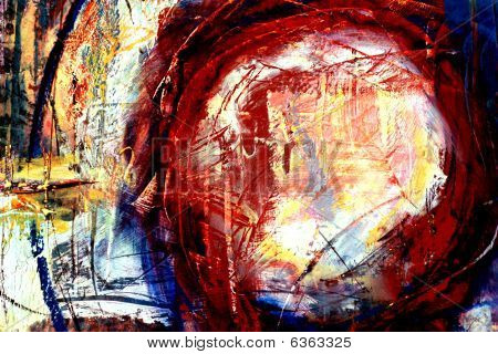 poster of A painterly mixed media background and texture with a circle, brush strokes, and drips.