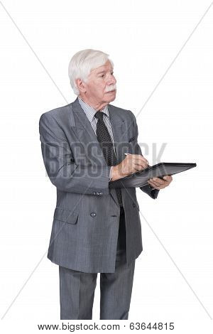 Old Man In Suit And Gray Hair Writing