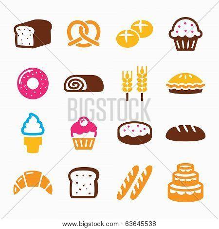 Bakery, pastry icon set - bread, donut, cake, cupcake