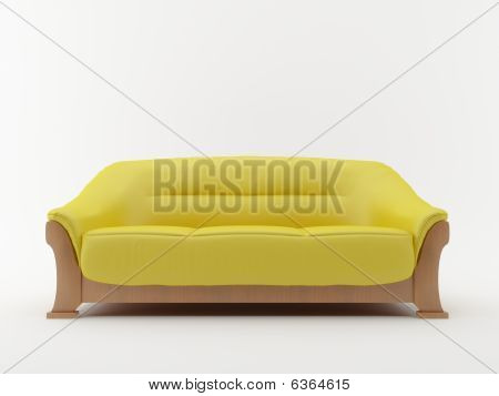 Yellow Couch - Isolated On White