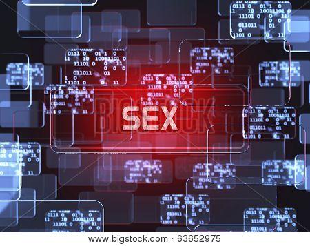 Future technology red touchscreen interface. Sex screen concept poster