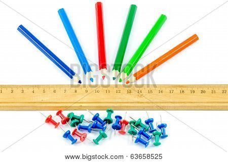 Colorful Stationary Over White Isolate Background