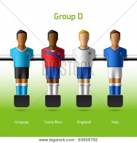 Table football / foosball players. Group D - Uruguay, Costa Rica, England, Italy. Vector.