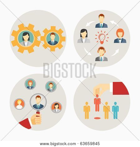 Set of vector business people and staff icons