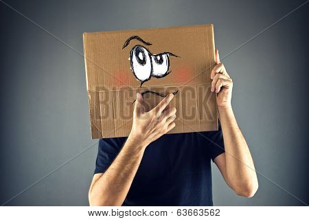 Man Thinking With Cardboard Box On His Head