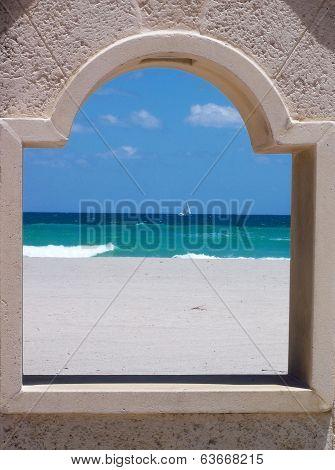 Ocean view through boardwalk window