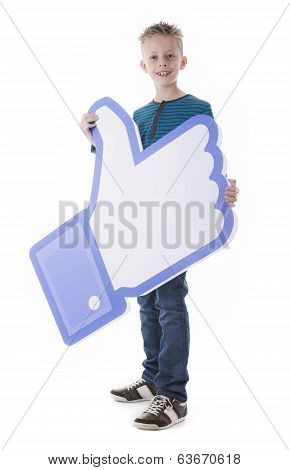 Boy holding Facebook like thumb