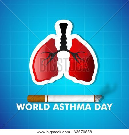 World Asthma Day concept with healthy lungs and cigarette on blue background.
