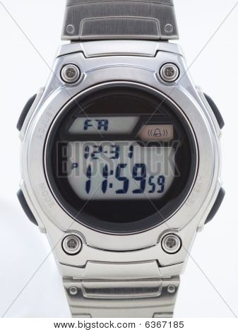 Digital Watch Face Close Up With Time