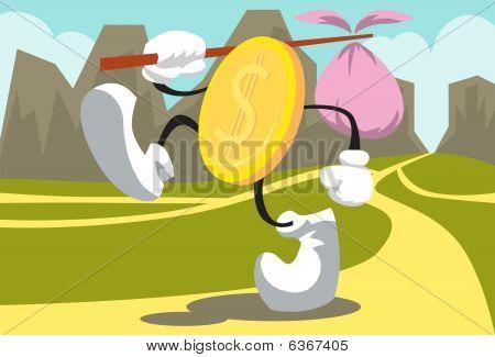 Golden Coin Walking