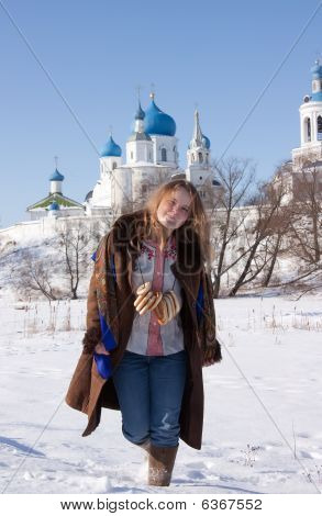 Smiling Girl In Russian Traditional  Clothes