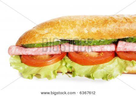 Ham Submarin Sandwich Closeup