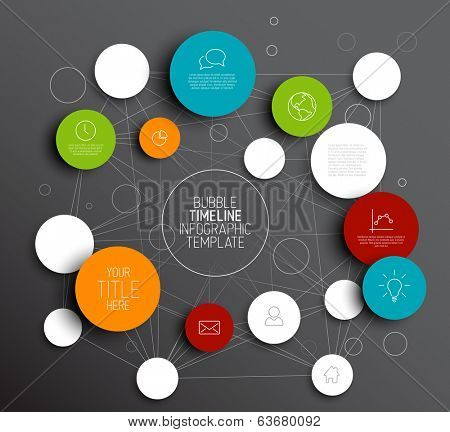 Dark Vector abstract circles illustration / infographic template with place for your content