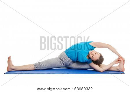 Yoga - young beautiful slender woman yoga instructor doing Revolved Wide Seated Forward Bend Pose (parivrtta upavistha konasana) asana exercise isolated on white background poster
