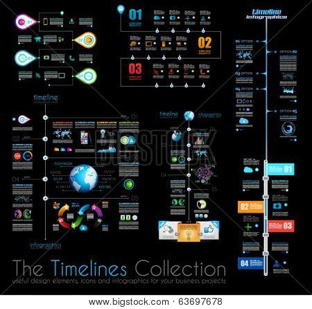 Timeline Infographic design templates Set 1 on Black.  With paper tags. Idea to display information, ranking and statistics with orginal and modern style.