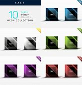 Mega collection of glass square symbols - web boxes / banners poster
