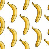 Seamless background pattern of a ripe yellow tropical cartoon banana in square format for textile or wallpaper poster