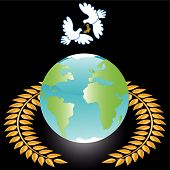 two white doves on globe in wreath poster