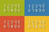 Set of flat pixel numbers on four different color backgrounds complete zero through nine  vector illustration poster