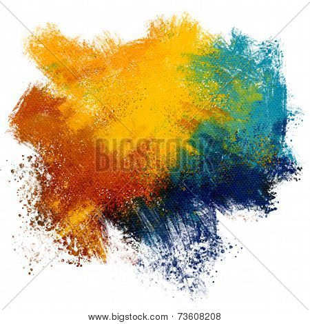 Colorful paint splash on watercolor paper background